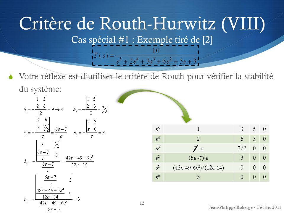 Critère de Routh-Hurwitz (VIII) Cas spécial #1 : Exemple tiré de [2]